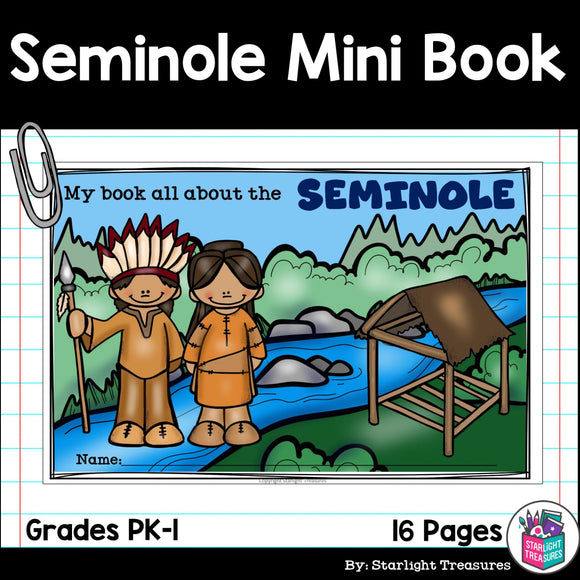 Seminole Tribe Mini Book for Early Readers - Native American Activities