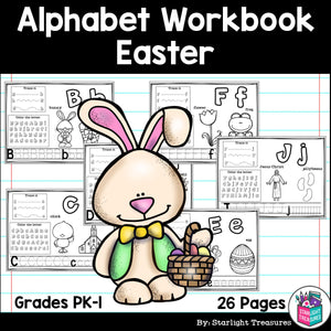 Alphabet Workbook: Worksheets A-Z Easter