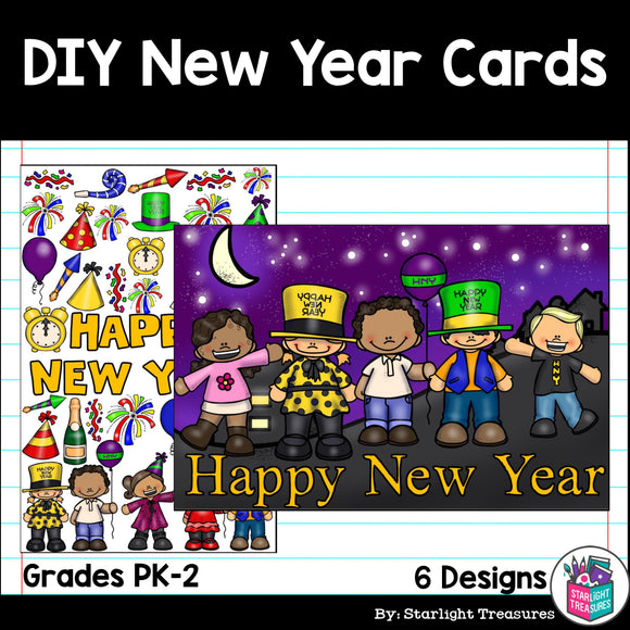 DIY New Year Coloring Cards