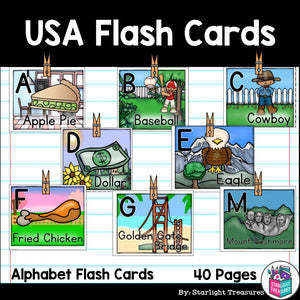 USA Flash Cards for Early Readers