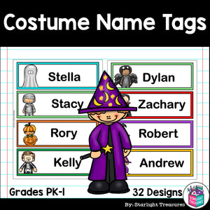 Halloween Costumes Name Tags - Editable