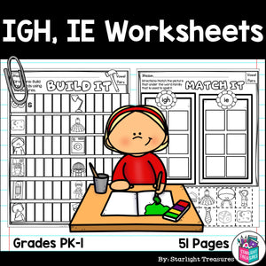 Vowel Pairs IGH, IE Worksheets and Activities for Early Readers