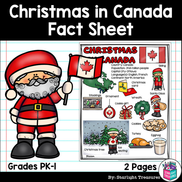 Christmas in Canada Fact Sheet for Early Readers