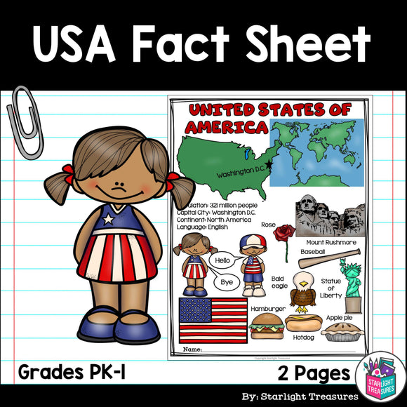 USA Fact Sheet for Early Readers