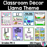 Classroom Decor Pack - Llama Theme