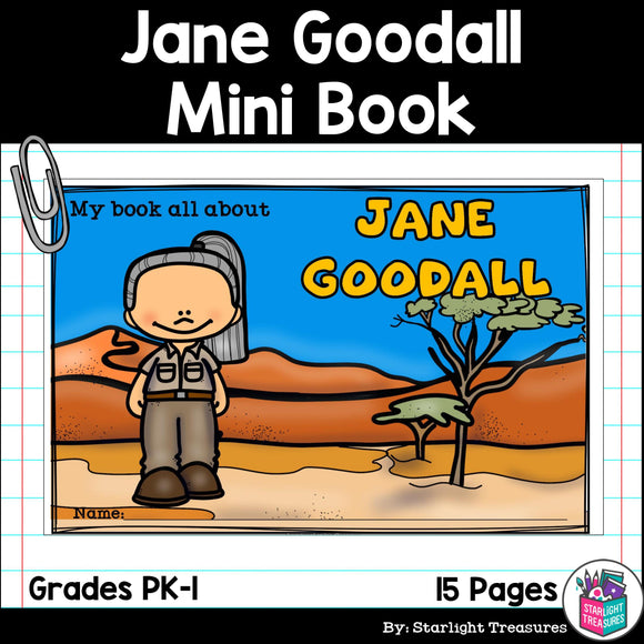 Jane Goodall Mini Book for Early Readers: Women's History Month