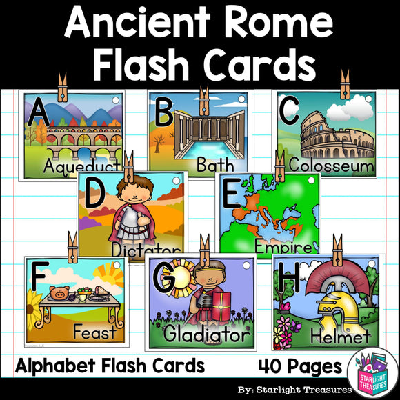 Alphabet Flash Cards for Early Readers - Ancient Rome