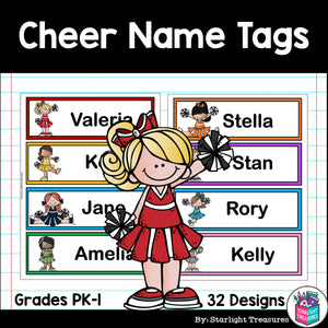 Cheerleading Name Tags - Editable