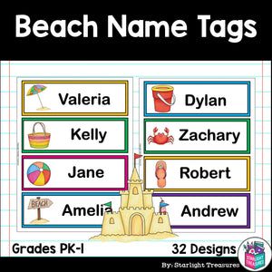 Beach Name Tags - Editable