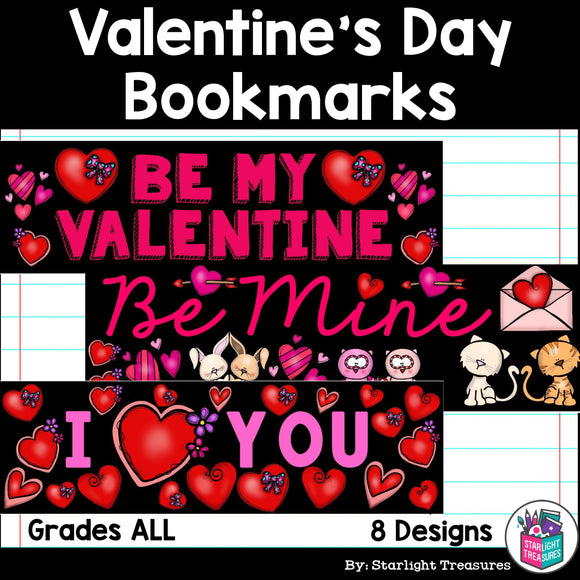 Valentine's Day Cut n' Color Bookmarks
