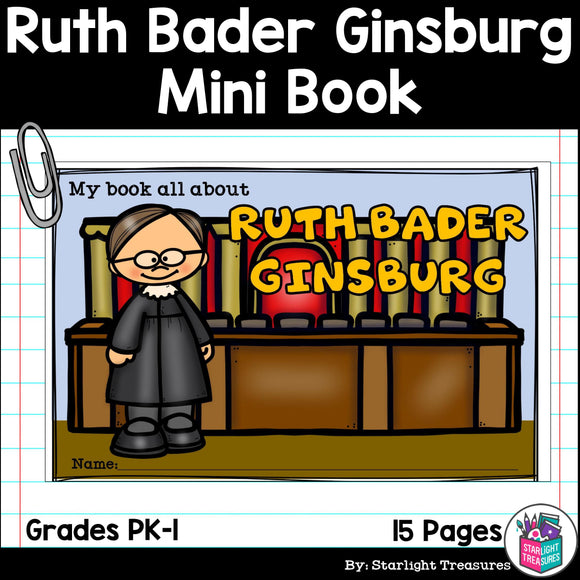 Ruth Bader Ginsburg Mini Book for Early Readers: Women's History Month