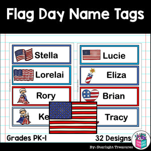 Flag Day Name Tags - Editable