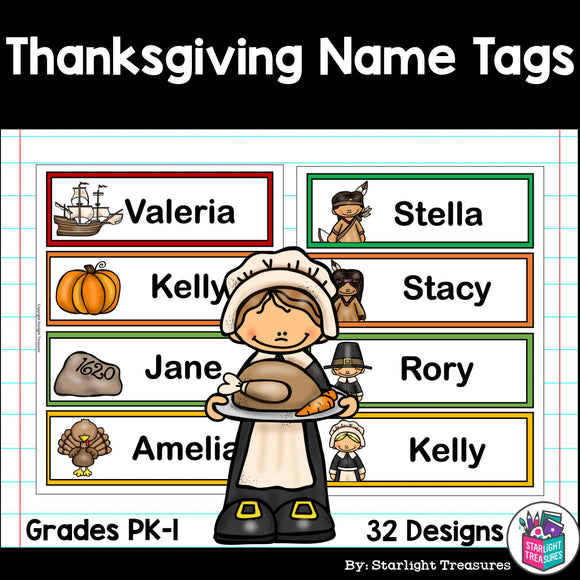 Thanksgiving Name Tags - Editable