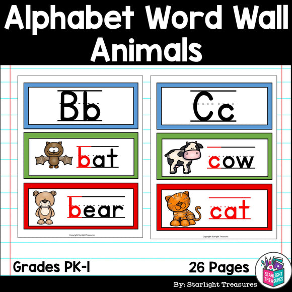 Alphabet Word Wall - Animal Theme