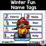 Winter Fun Name Tags - Editable