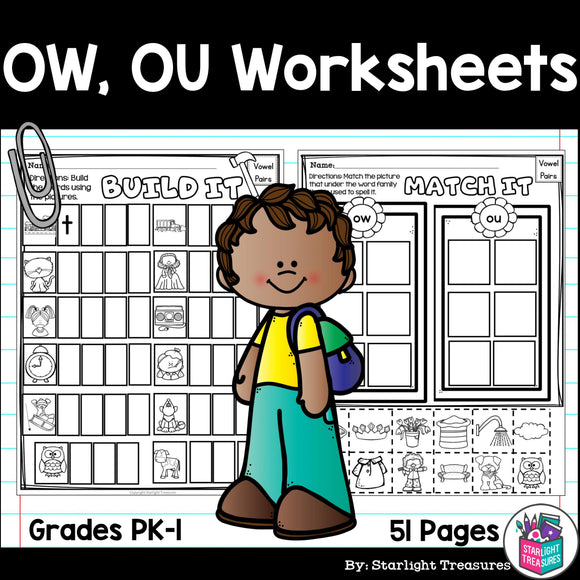 Vowel Pairs OW, OU Worksheets and Activities for Early Readers