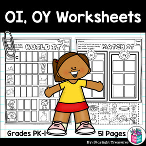 Vowel Pairs OI, OY Worksheets and Activities for Early Readers