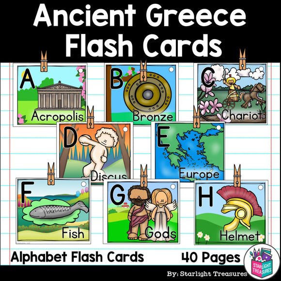 Alphabet Flash Cards for Early Readers - Ancient Greece