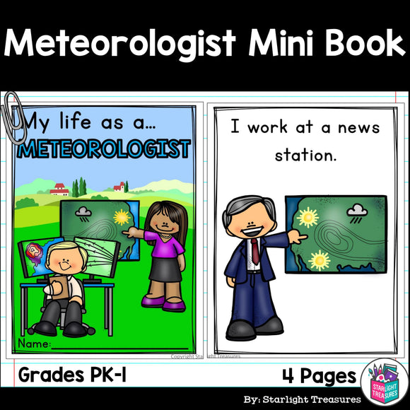 Meteorologist Mini Book for Early Readers - Careers and Community Helpers