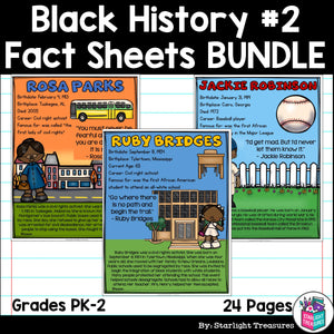 Black History Month Fact Sheets for Early Readers #2