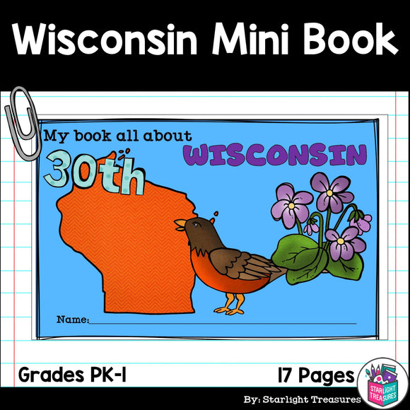 Wisconsin Mini Book for Early Readers - A State Study