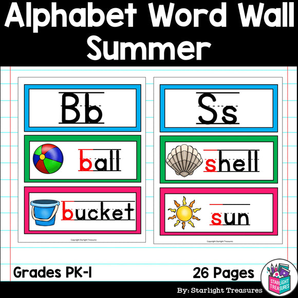 Alphabet Word Wall - Summer Theme