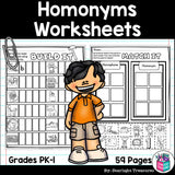 Homonyms and Homophones Worksheets and Activities for Early Readers