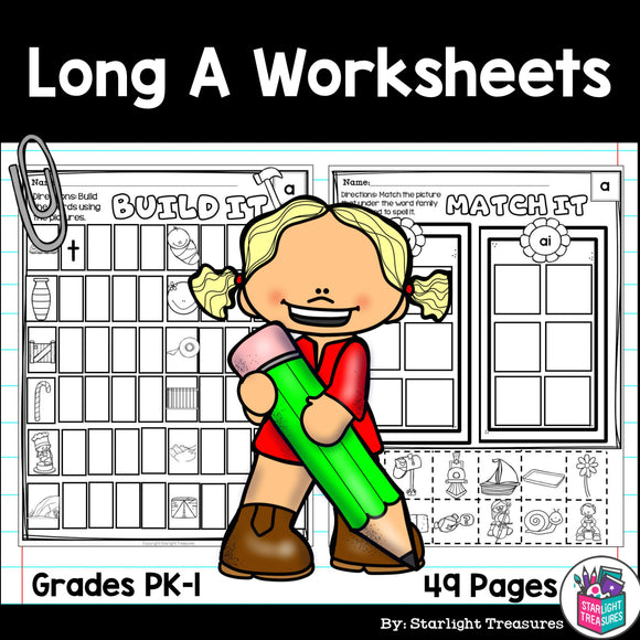 Long A Worksheets and Activities for Early Readers