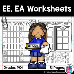 Vowel Pairs EE, EA Worksheets and Activities for Early Readers