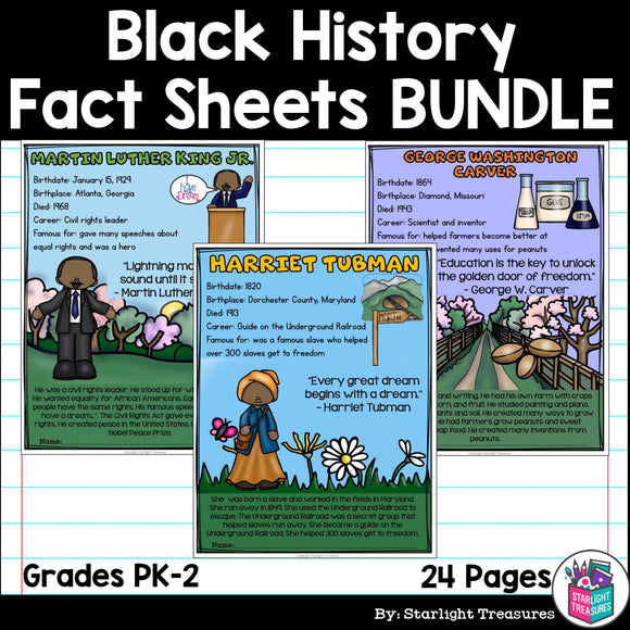 Black History Month Fact Sheets for Early Readers #1