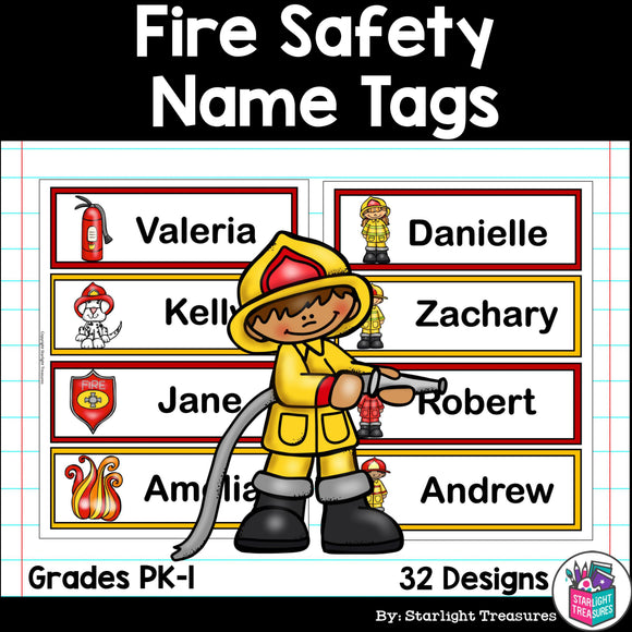 Fire Safety Name Tags - Editable