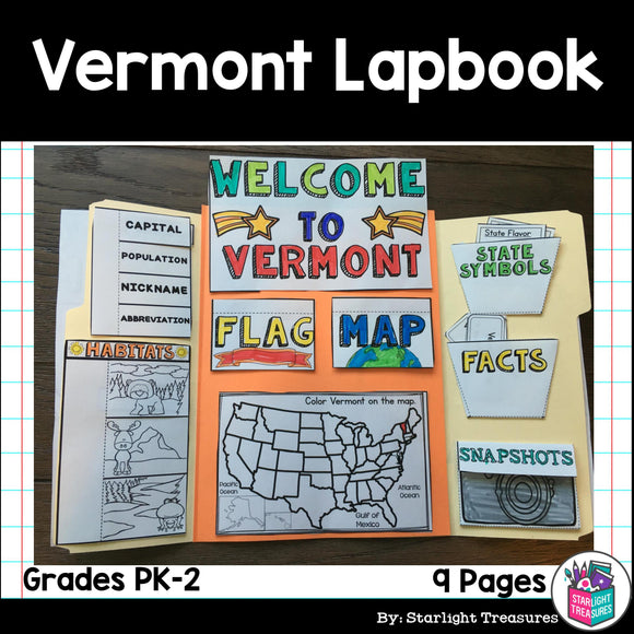 Vermont Lapbook for Early Learners - A State Study
