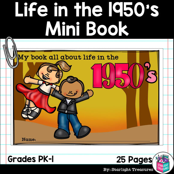 Life in the 1950s Mini Book for Early Readers
