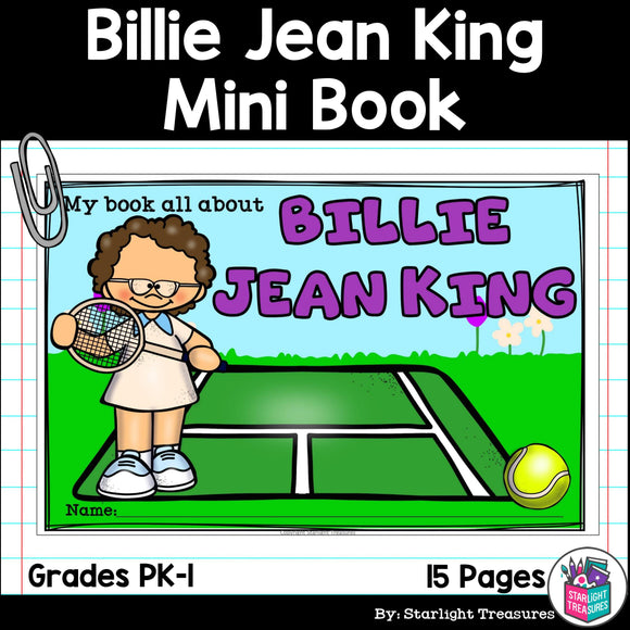 Billie Jean King Mini Book for Early Readers: Women's History Month