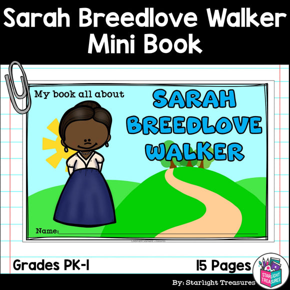 Sarah Breedlove Walker Mini Book for Early Readers: Black History Month