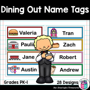Dining Out Name Tags - Editable