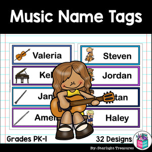 Music Name Tags - Editable