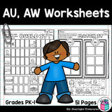 Vowel Pairs AU, AW Worksheets and Activities for Early Readers