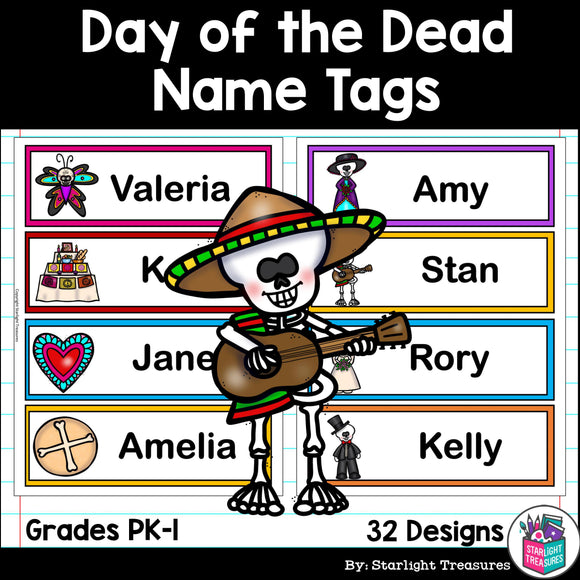 Day of the Dead Name Tags - Editable