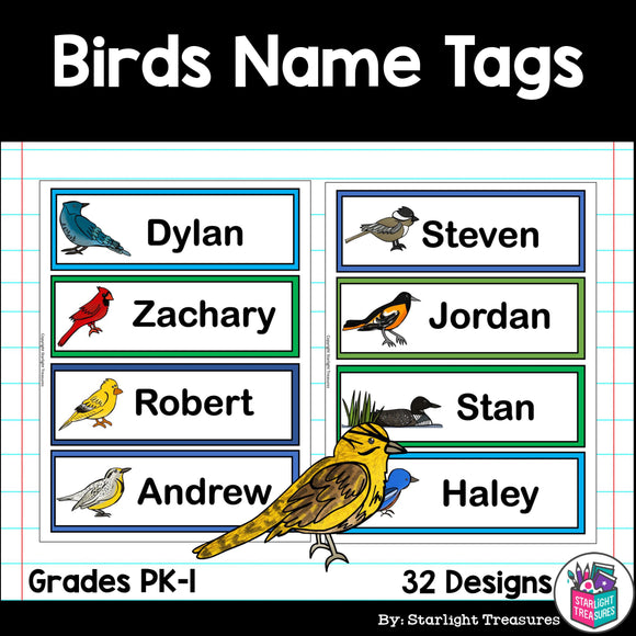 Birds Name Tags - Editable