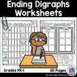 Ending Digraphs Worksheets and Activities for Early Readers