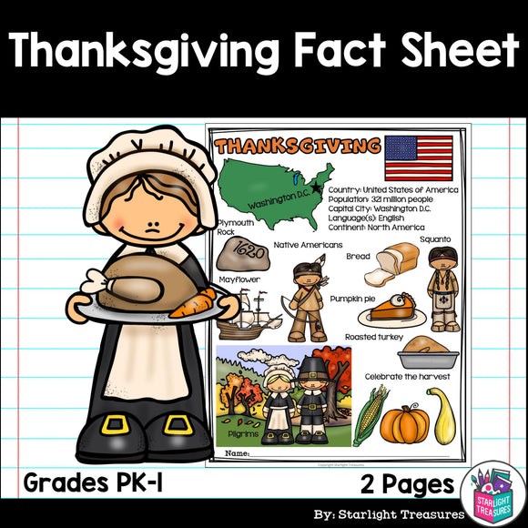 Thanksgiving Fact Sheet for Early Readers