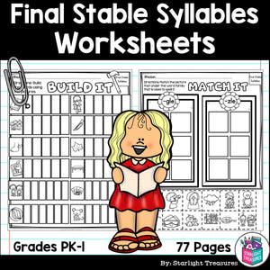 Final Stable Syllables Worksheets and Activities for Early Readers