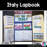 Italy Lapbook for Early Learners - A Country Study