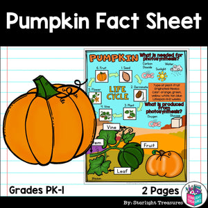 Pumpkin Fact Sheet for Early Readers - FREEBIE