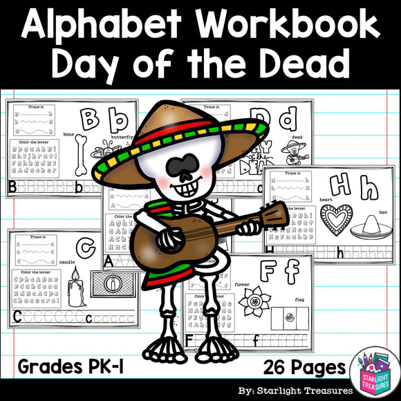 Alphabet Workbook: Worksheets A-Z Day of the Dead