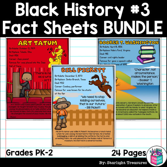 Black History Month Fact Sheets for Early Readers #3