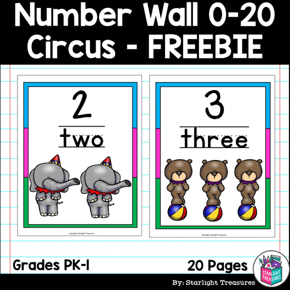Number Wall - Circus FREEBIE: 0-20
