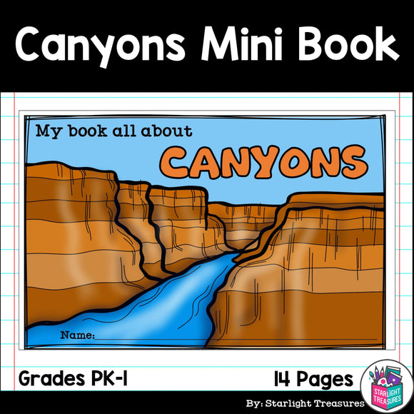 Canyons Mini Book for Early Learners - Landforms