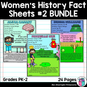 Women's History Month Fact Sheets for Early Readers #2